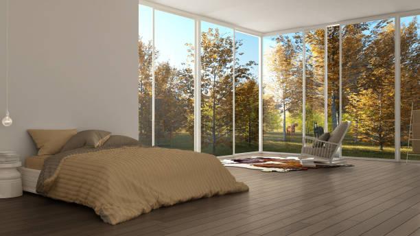 klassisches schlafzimmer, minimalistische weiße inneneinrichtung, große fenster mit herbstlandschaft und weidende pferde, hotel, spa, resort - pferde schlafzimmer stock-fotos und bilder