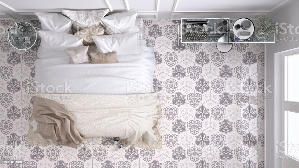 Classic bedroom, top view, with marble old vintage beige tiles foto de stock libre de derechos