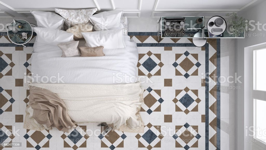 Classic bedroom, top view, with marble old vintage blue and brown tiles royalty-free stock photo