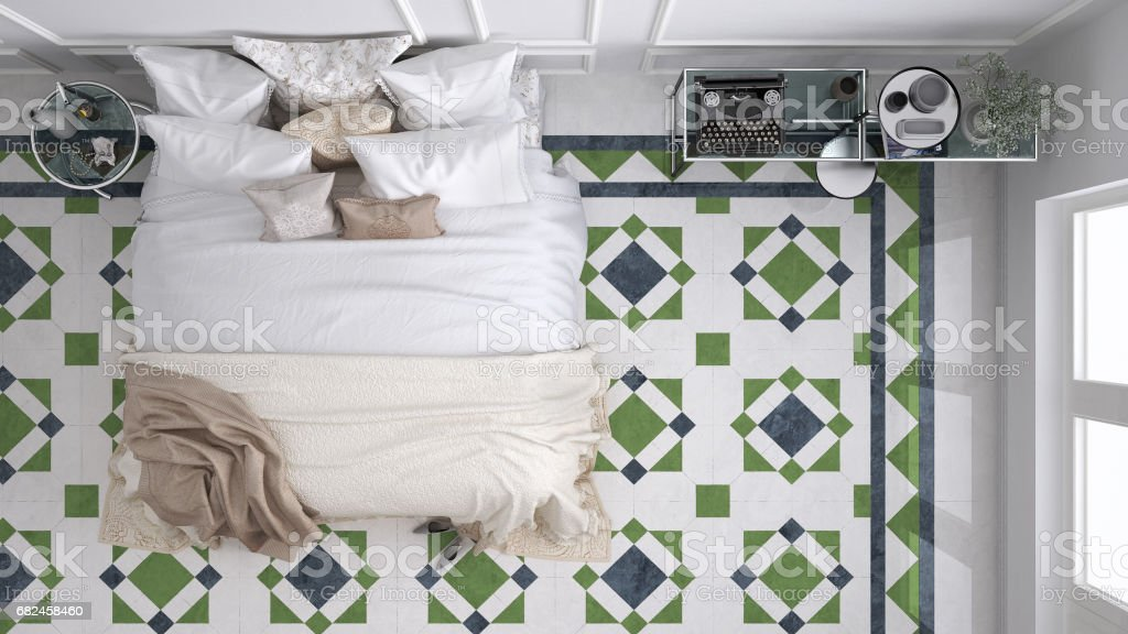 Classic bedroom, top view, with marble old vintage blue and green tiles royalty-free stock photo