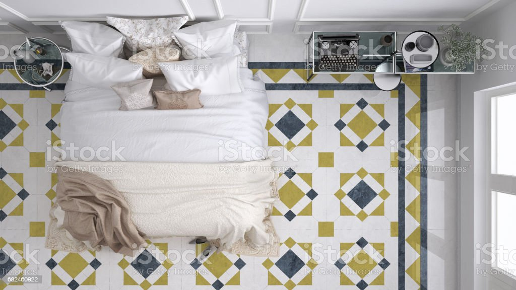 Classic bedroom, top view, with marble old vintage blue and yellow tiles royalty-free stock photo