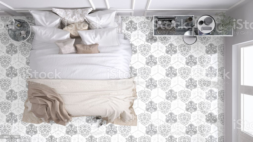Classic bedroom, top view, with marble old vintage light gray tiles royalty-free stock photo