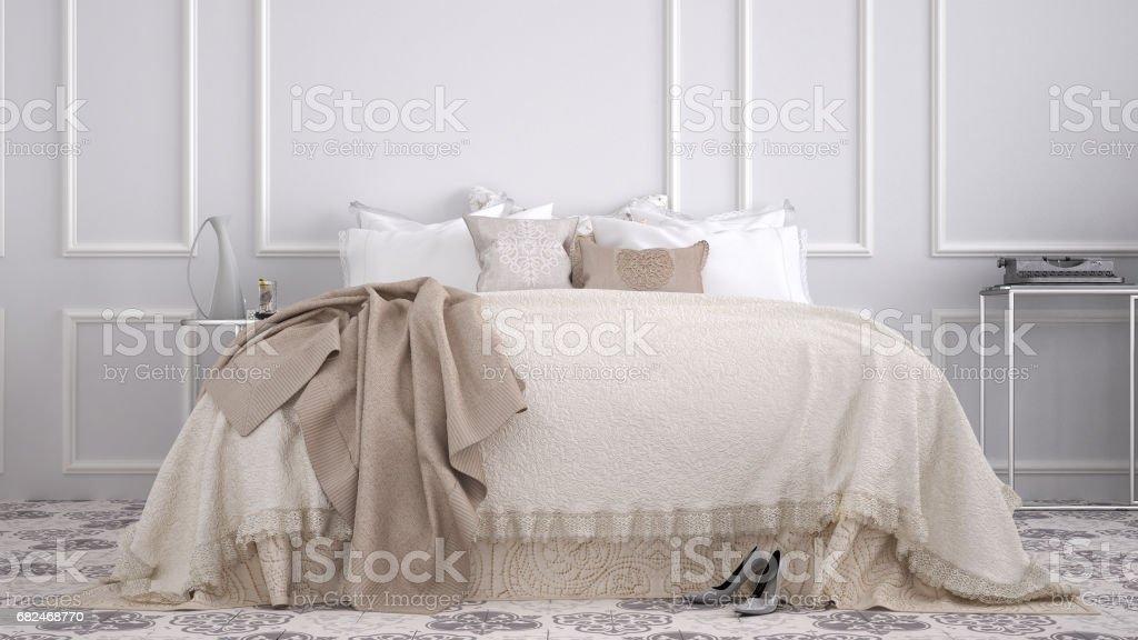 Classic bedroom with marble old vintage beige tiles Стоковые фото Стоковая фотография