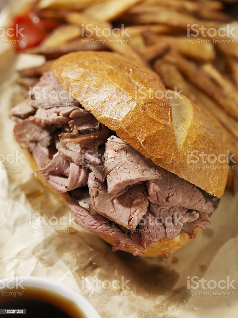 Classic Beef Dip with French Fries royalty-free stock photo