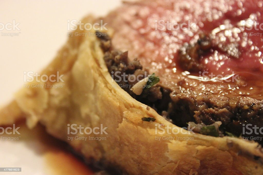 Classic Beef Wellington on White Plate Part 2 of 2 stock photo
