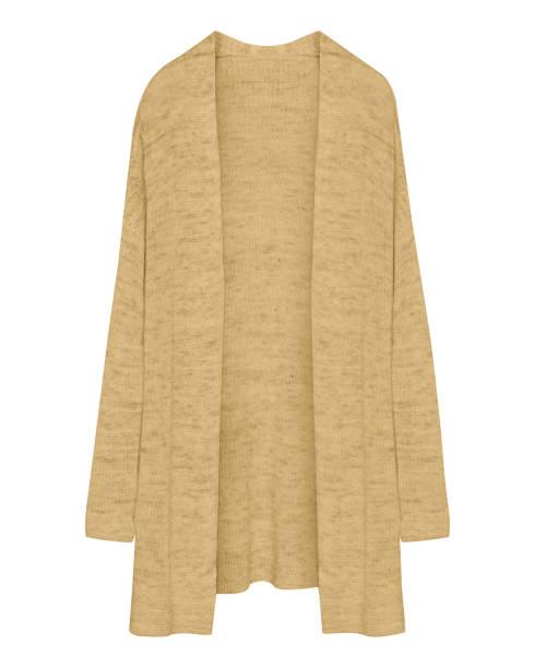 klassische beige lange aufgeknöpft strickjacke isoliert auf weiss - lange jacken stock-fotos und bilder