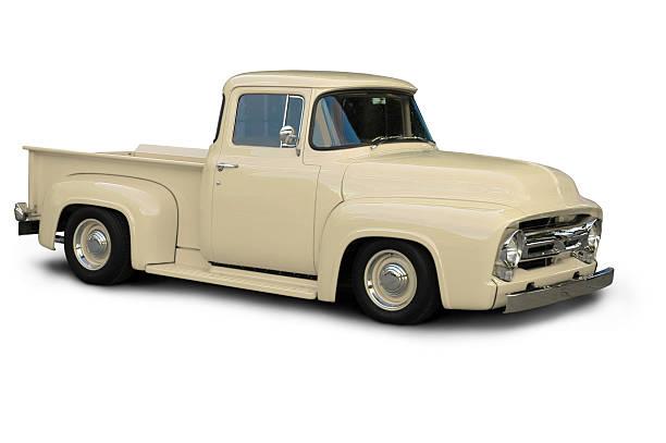 klassische beige ford f100 lkw - 1954 - alte wagen stock-fotos und bilder