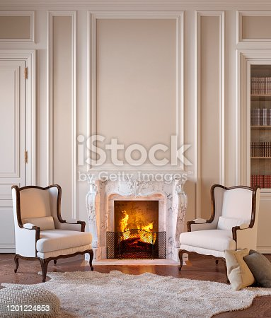 istock Classic beige interior with fireplace, armchairs, moldings, wall pannel, carpet, fur. 1201224853