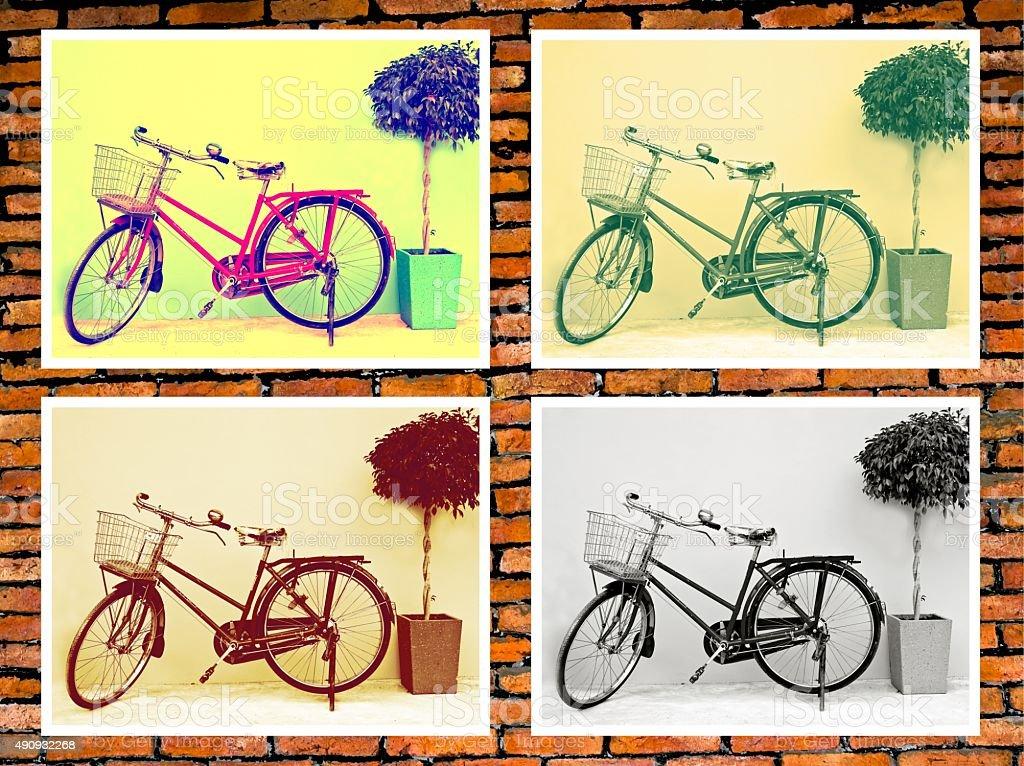 Classic bicycle photo on brick wall. stock photo