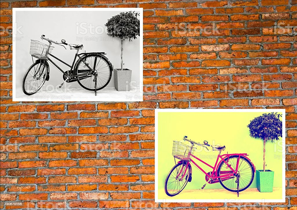 Classic bicycle photo. stock photo