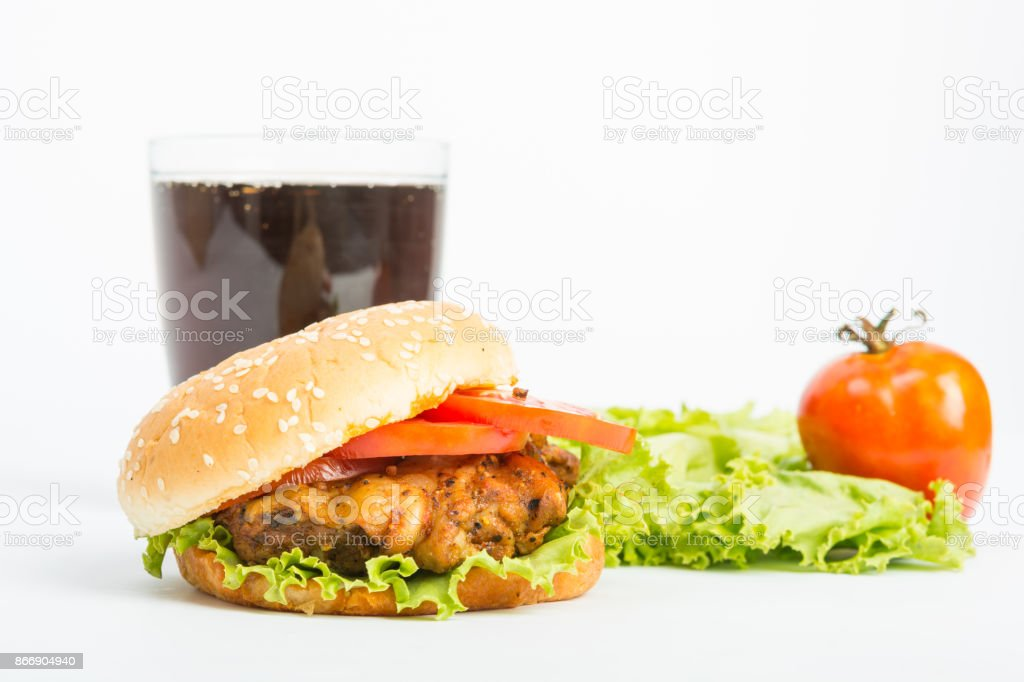 Classic Big hamburger isolate stock photo