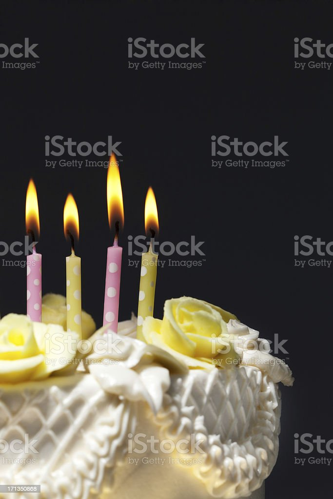Classic Birthday Cake With Burning Candles Closeup Stock Photo Istock