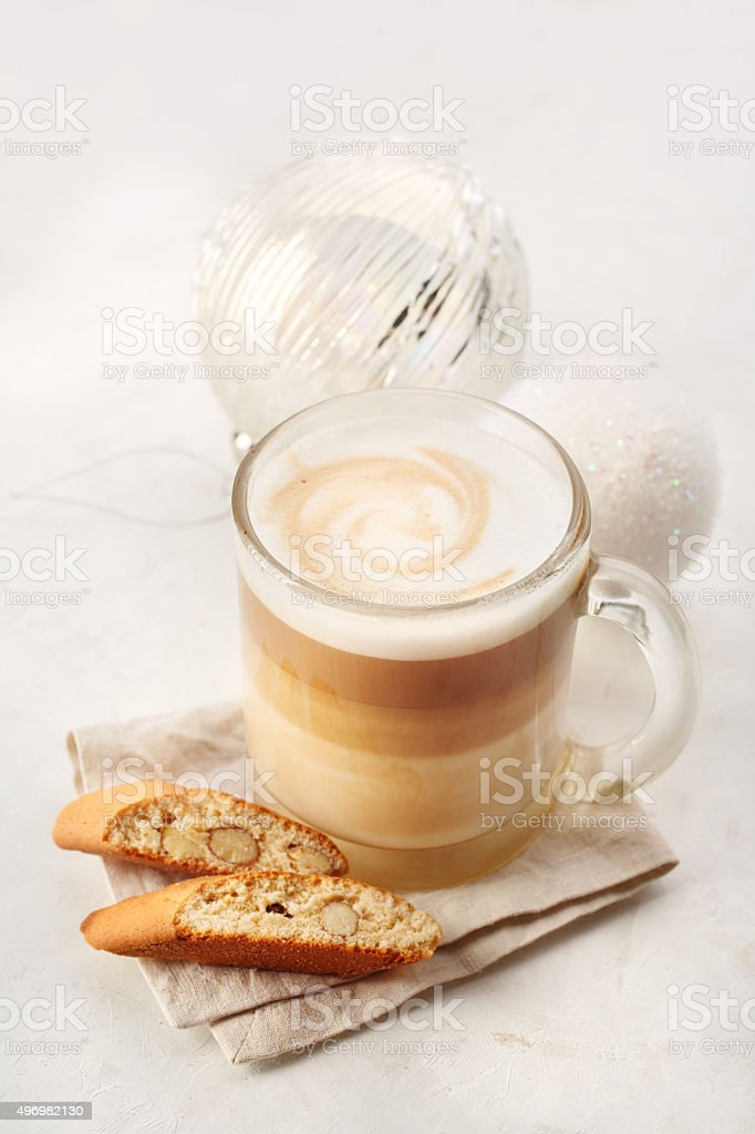 Classic Biscotti and Latte Macchiato stock photo