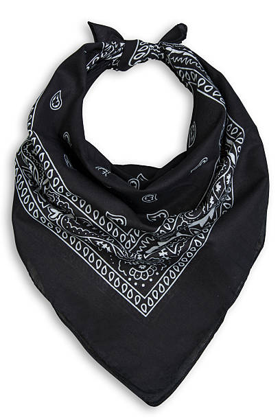 classic black bandana on a white background stock photo