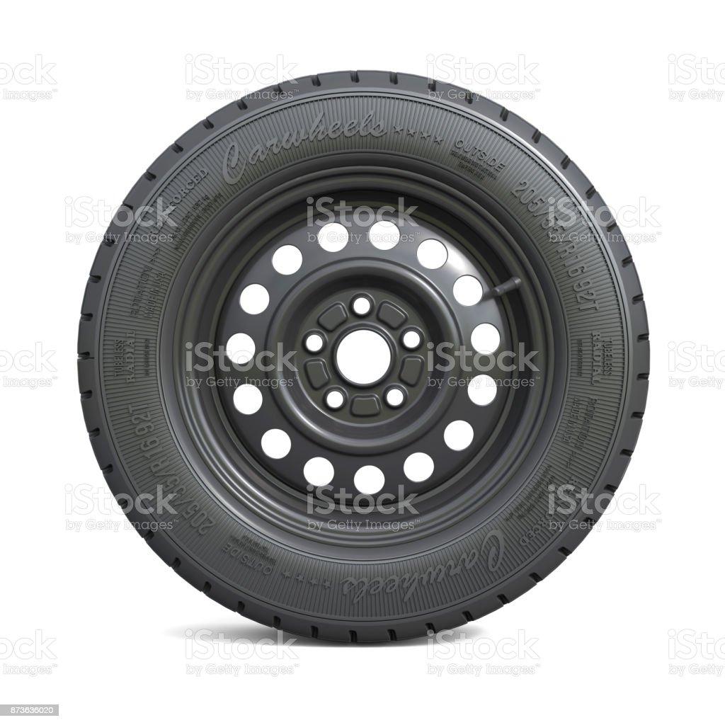 Classic black car wheel isolated on white background stock photo