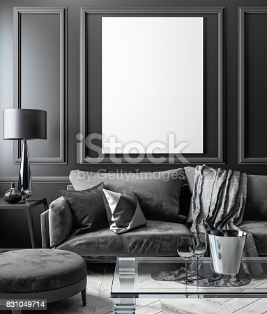 istock Classic black interior mock up with sofa, glass table, ottoman, pillows, plaid, lamp, vase. 3d render illustration. 831049714