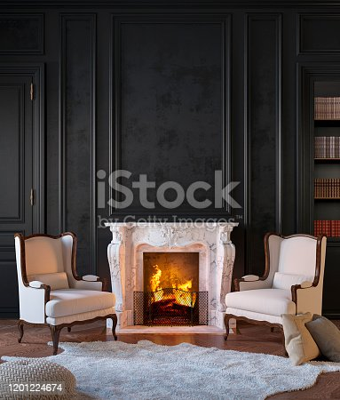 Classic black interior with fireplace, armchairs, moldings, wall pannel, carpet, fur. 3d render illustration mock up.