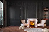 istock Classic black interior with fireplace, armchairs, moldings, wall pannel, carpet, fur. 3d render illustration mock up. 1204125555
