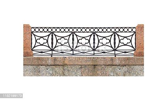 Classic black iron balustrade isolated on white background, panoramic view, railing granite embankment. Seamless horizontal background