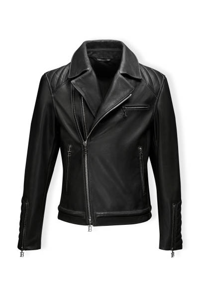 Classic black leather bikers' jacket with lining shot from the front and the back isolated on white Classic black leather bikers' jacket with lining shot from the front and the back isolated on white. Motorcycle style leather jacket stock pictures, royalty-free photos & images