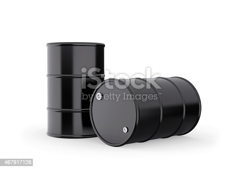 Classic Black Oil Barrels  with copy space ,  isolated on white
