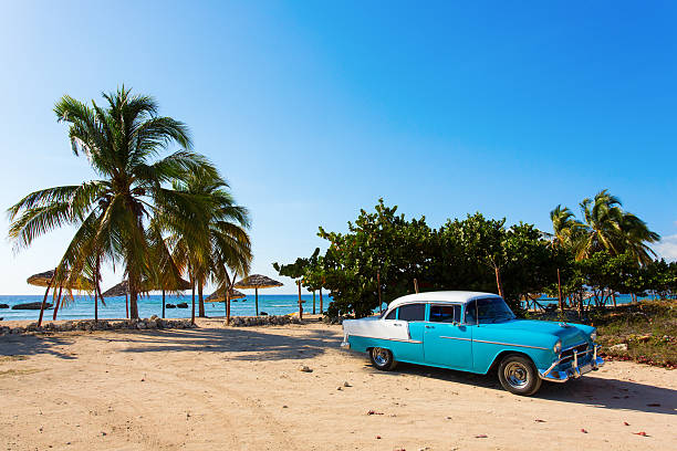 classic blue car on the beach in cuba - cuba stock photos and pictures
