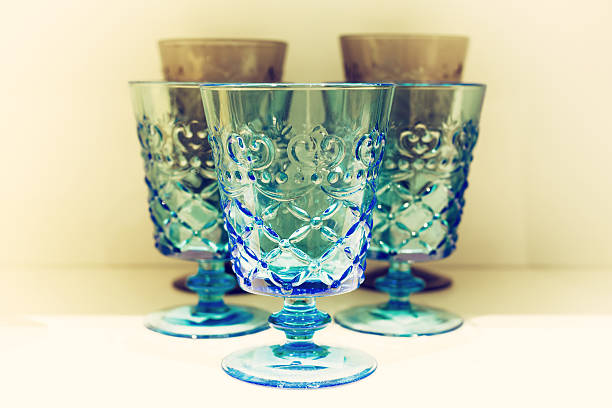 classic blue drinking glasses - crystal glassware stock photos and pictures