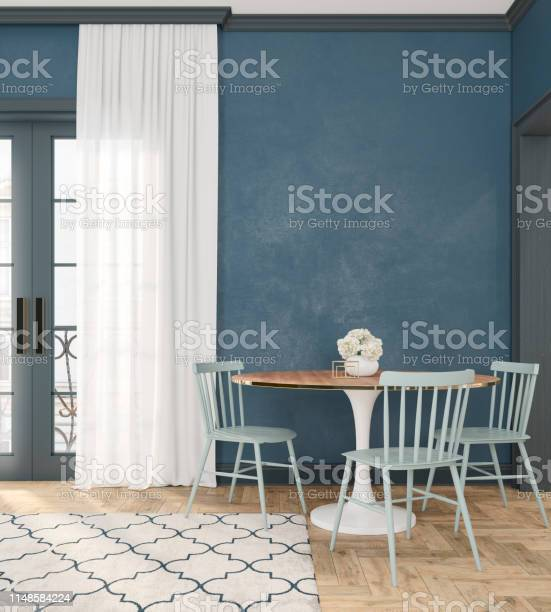 Classic blue empty interior room with dinner table chairs curtain picture id1148584224?b=1&k=6&m=1148584224&s=612x612&h=ihe9qqa0juekbsatevaq7odl2x9ir6n0et4g5foufc8=
