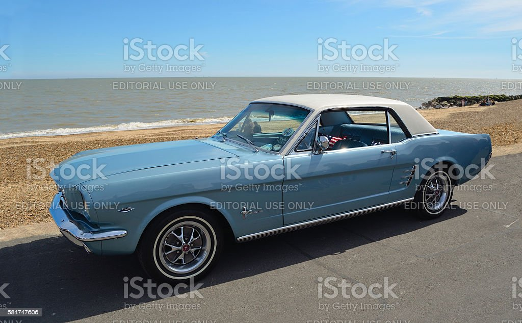Classic Blue Ford Mustang motor car stock photo