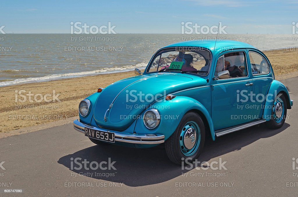 Classic Blue  Volkswagen Beetle Car stock photo