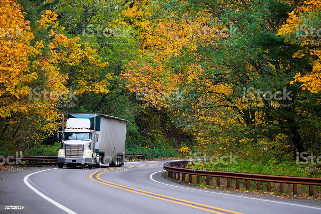 Classic bonneted semi truck ribbed trailer on road autumn forest stock photo