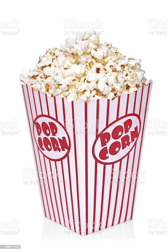 Classic box of red and white popcorn stock photo