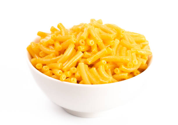 Classic Boxed Mac and Cheese in a White Bowl Classic Boxed Mac and Cheese in a White Bowl macaroni stock pictures, royalty-free photos & images