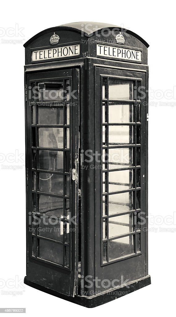 Classic British Phone Booth In London Uk Isolated On White Stock