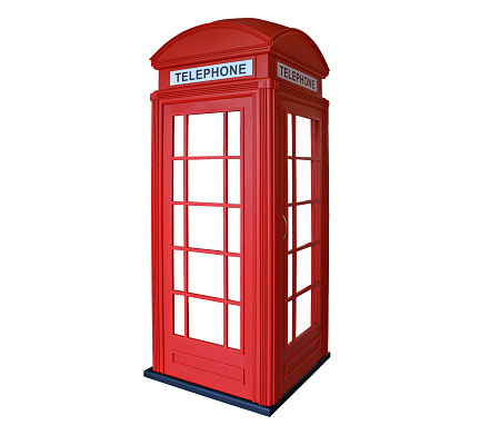 Classic British red phone booth in London, isolated on white.