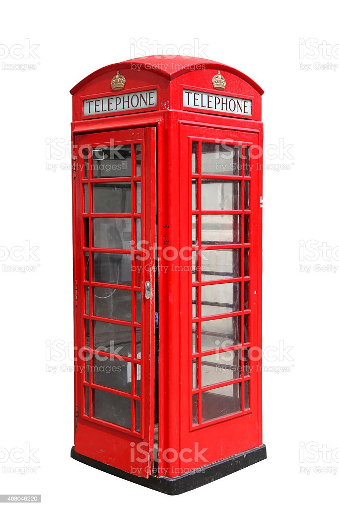 Classic British red phone booth in London stock photo
