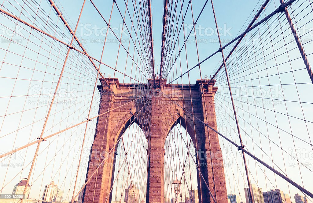 Classic Brooklyn Bridge Landmark NYC Architecture stock photo