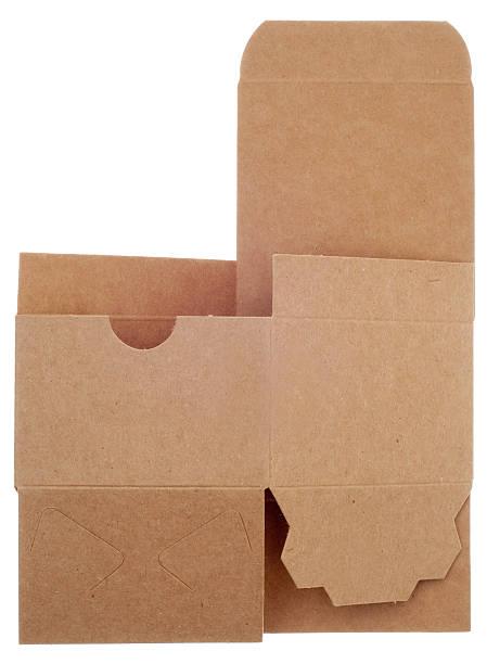 klassischen braun karton unassembled - box falten stock-fotos und bilder