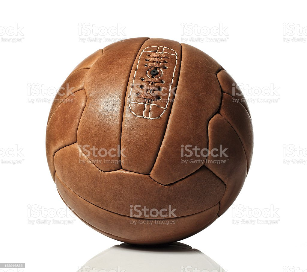 Classic brown leather soccer ball stock photo
