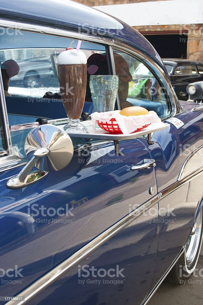 Classic Buger, Car, and Shake stock photo