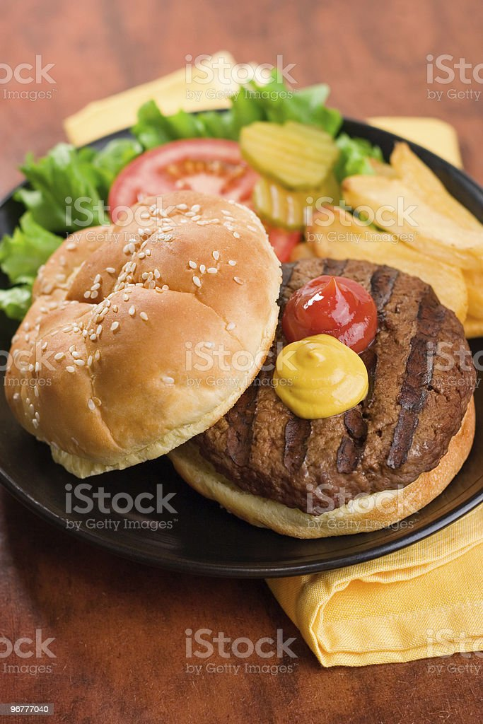 Classic Burger & Fries royalty-free stock photo