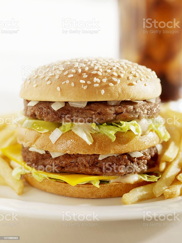 Classic Burger with French Fries and a Cola royalty-free stock photo