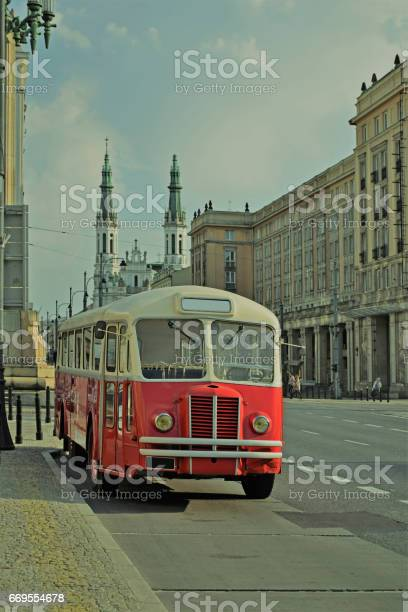 Classic bus parked on the street