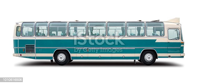 Classic european bus side view isolated on white