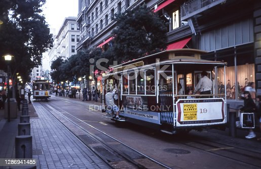 Cable cars, often restored and perfectly maintained original cars, still roam the streets of San Francisco and are a popular public transport.