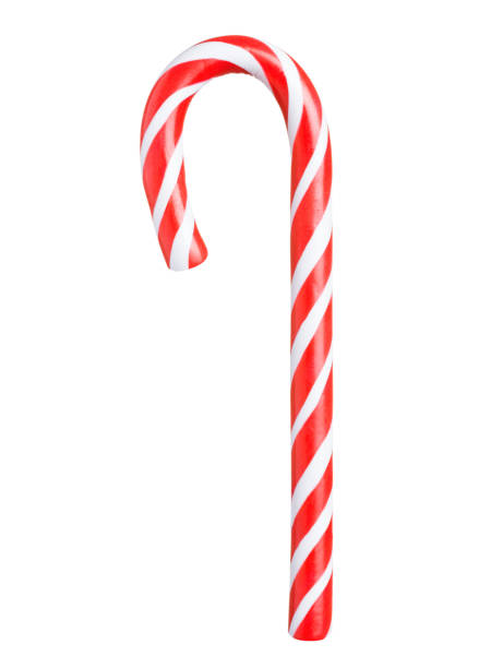 Classic candy cane isolated on white Classic glossy red and white Christmas candy cane isolated on white background candy cane stock pictures, royalty-free photos & images