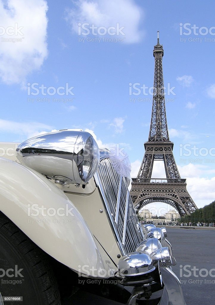 Classic Car and Eiffel Tower stock photo