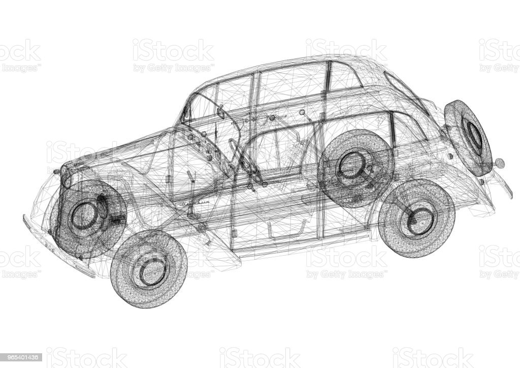 Classic Car Architect blueprint - isolated royalty-free stock photo