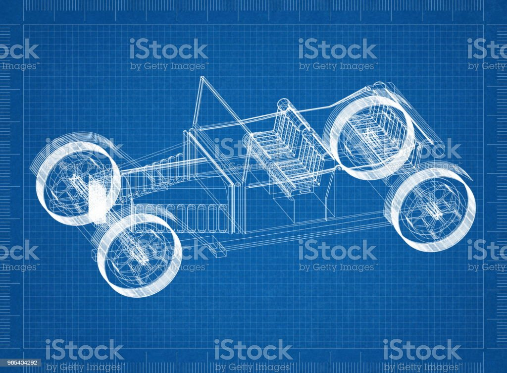 Classic Car Architect blueprint zbiór zdjęć royalty-free
