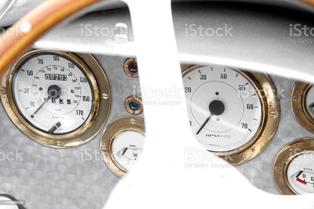 Classic car dashboard stock photo